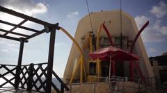 Yellow cable car at Rosh Hanikra Mediterranean sea, Israel Lebanon border Stock Footage
