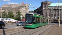 A modern electric tram (in 4k) in Helsinki, Finland. Stock Footage