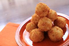 piled breaded canapes - stock photo