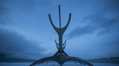 Time lapse of Solfar Sun-craft Sculpture in Reykjavik, Iceland Stock Footage
