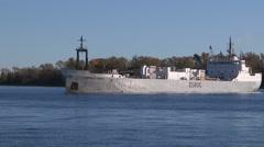Ship turning in Toronto harbour in lake Ontario Stock Footage