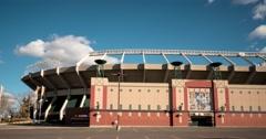 Hyperlapse of Commonwealth Stadium in Edmonton, Alberta - stock footage