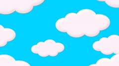 Illustrated Cartoon Clouds on a Bright Blue Sky Animation - stock footage