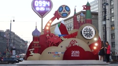 The countdown to the FIFA world Cup in Russia 2018 - stock footage