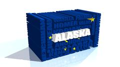 Stock Illustration of alaska state cities list textured by flag