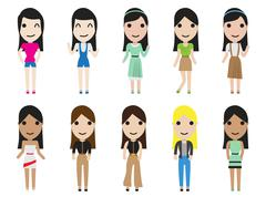 Casual set woman characters with long hair in flat style Stock Illustration
