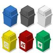 Set of isometric Trash bin with symbol in flat icon style - stock illustration