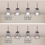 Set of modern ceiling lights with black metal cage and white lamp Stock Illustration