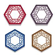 Set of traditional chinese hexagon window frame Stock Illustration