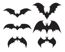 Silhouette of bat with big wings - stock illustration