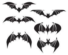 Symbol of bat with big wings - stock illustration