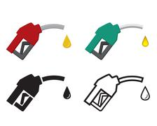 Fuel nozzle and oil drop, oil energy icon Stock Illustration