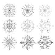 Set of spider web in silhouette style Stock Illustration