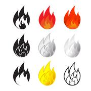 Fire and flames icon in many style Stock Illustration