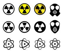 Set of Nuclear icons in many style - stock illustration