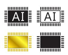AI system icon and cpu symbo - stock illustration