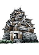 Free hand sketch World famous landmark : Kumamoto castle Japan. Stock Illustration
