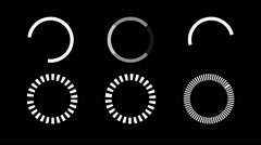 6 Loading Page Buttons Icons on a Black Screen Stock Footage