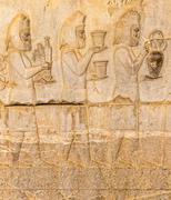 Armenian tribute relief detail Persepolis - stock photo
