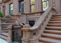Brownstone apartment buildings, New York City - stock photo