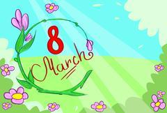 March Banner Green Floewr Leaves Vector - stock illustration
