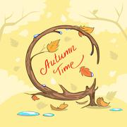 Autumn Time Yellow Tree Fall Banner Concept Stock Illustration