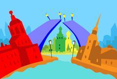 Saint Petersburg Russia Abstract Skyline City Skyscraper Silhouette - stock illustration