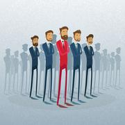Red Businessman Leader Stand Crowd Individual With People Group Business Team - stock illustration