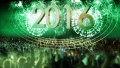 2016_crowd of people and fireworks explosions (pan camera) green - stock footage