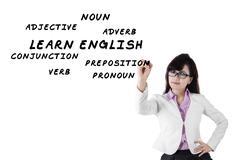 Female teacher of english language - stock photo