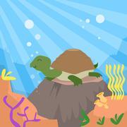 Cartoon Turtle Underwater Deep Ocean Bottom Coral Reef Colorful Stock Illustration