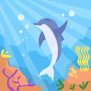 Cartoon Dolphin Underwater Deep Ocean Bottom Coral Reef Colorful - stock illustration
