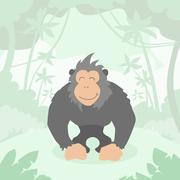 Cartoon Gorilla Green Jungle Forest Colorful Stock Illustration