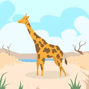 Cartoon Giraffe Desert Sand Colorful Flat Retro - stock illustration