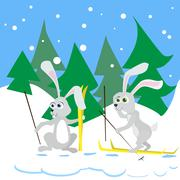 Two Rabbit Ski Winter Snow Forest Vector - stock illustration