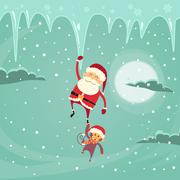 Santa Clause Christmas Monkey Cartoon Character Hang on Icicle - stock illustration