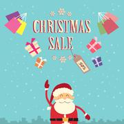 Santa Clause Point Finger Up Christmas Sale Show Gift Box Present Retro - stock illustration