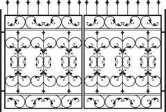 Wrought Iron Gate, Door, Fence, Window, Grill, Railing Design - stock illustration