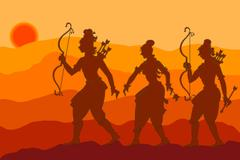 Shadow Art, Rama, Sita, Laxman - stock illustration