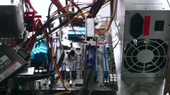 Network Server Rack Panel with hard disks in a data cente in slowmotion - stock footage