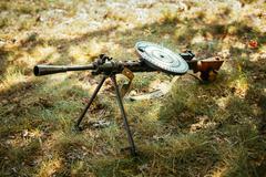 Soviet russian military ammunition - machine gun of World War II Stock Photos