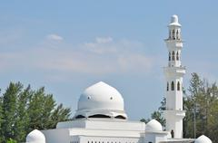 Close up of dome and tower of floating mosque at Kuala Terengganu, Malaysia Stock Photos
