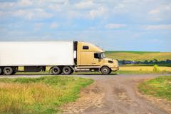 Truck transports freight Stock Photos