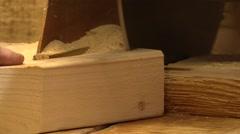Carpentry.Carpenter sawing wood.Circular saw. Stock Footage