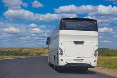 bus goes on  country highway - stock photo