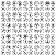 100 B2B icons set - stock illustration