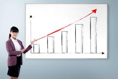 Woman With Increase Chart - stock photo