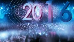 2016_crowd of people and fireworks explosions (slider camera) BLUE - stock footage