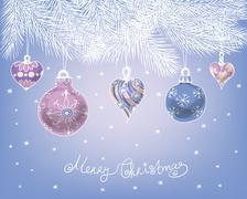 Hand drawn Christmas baubles Stock Illustration