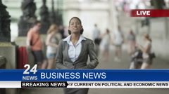 4K Female news reporter doing live piece to camera outdoors in the city - stock footage